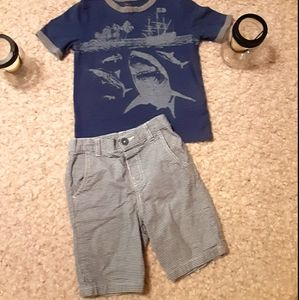 Boy's 5t. Fits like 4t. Gray/blue stripe shirts &